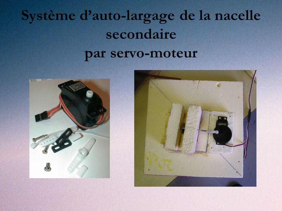 Système d'auto-largage de la nacelle secondaire par servo-moteur