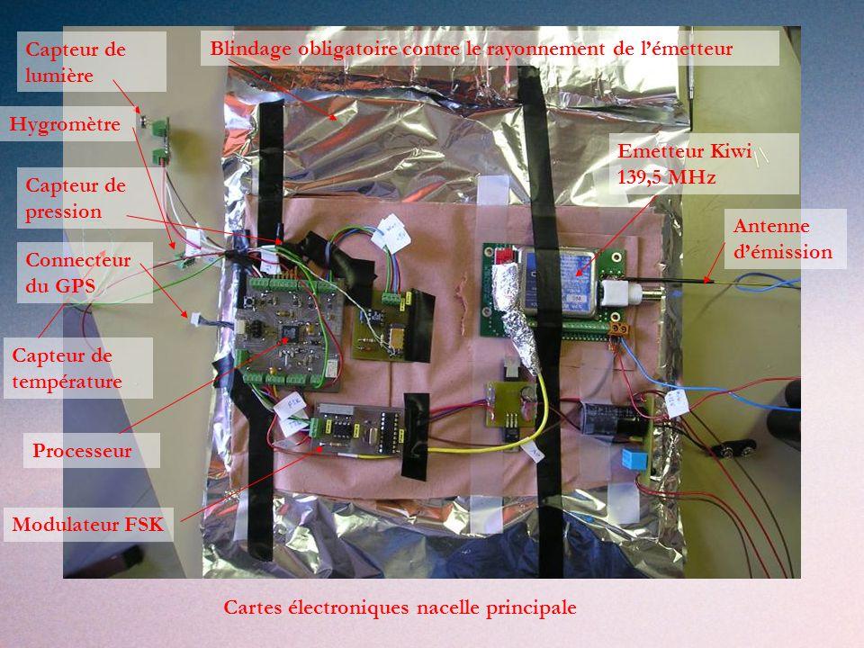 Capteur de lumière Blindage obligatoire contre le rayonnement de l'émetteur. Hygromètre. Emetteur Kiwi 139,5 MHz.