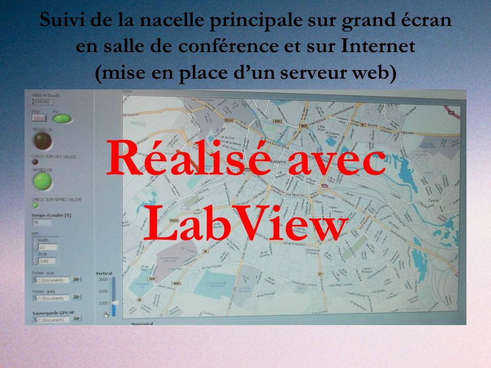 Suivi de la nacelle principale sur grand écran en salle de conférence et sur Internet (mise en place d'un serveur web)