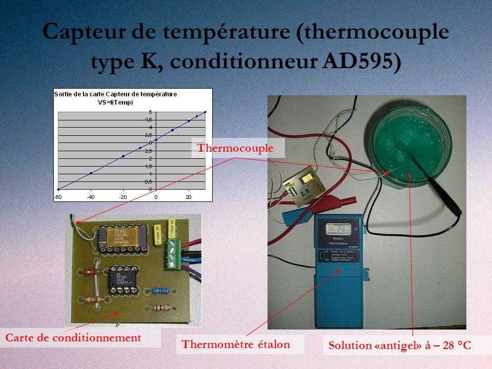 Capteur de température (thermocouple type K, conditionneur AD595)
