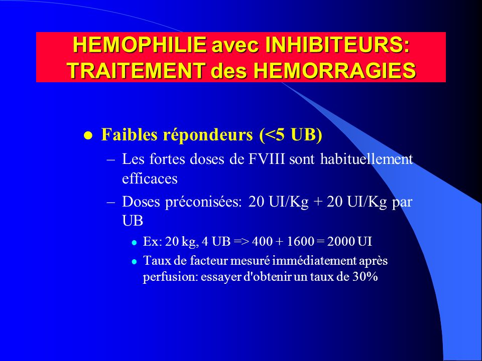 HEMOPHILIE avec INHIBITEURS: TRAITEMENT des HEMORRAGIES
