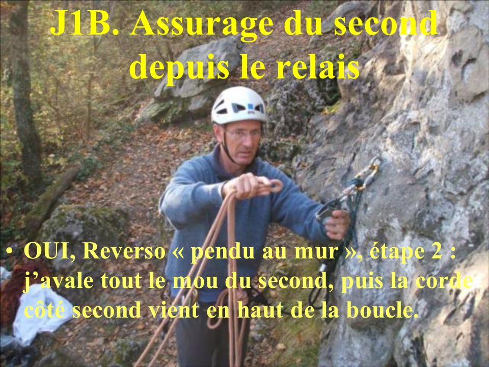 J1B. Assurage du second depuis le relais
