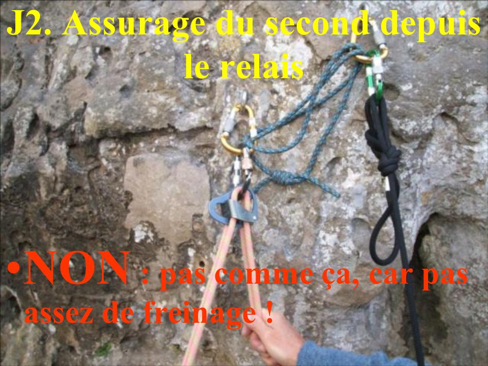 J2. Assurage du second depuis le relais