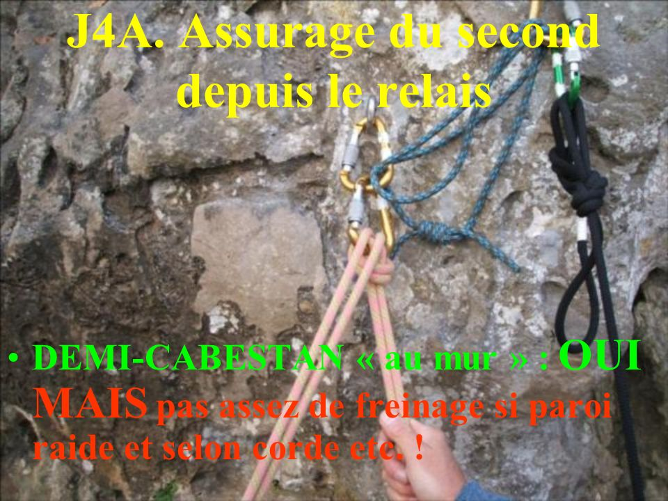 J4A. Assurage du second depuis le relais