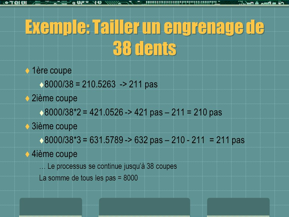 Exemple: Tailler un engrenage de 38 dents