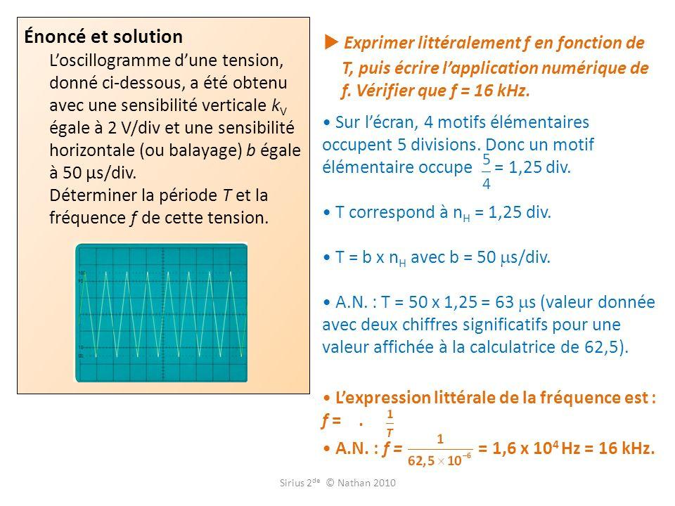 Énoncé et solution L'oscillogramme d'une tension, donné ci-dessous, a été obtenu avec une sensibilité verticale kV égale à 2 V/div et une sensibilité horizontale (ou balayage) b égale à 50 µs/div. Déterminer la période T et la fréquence f de cette tension.
