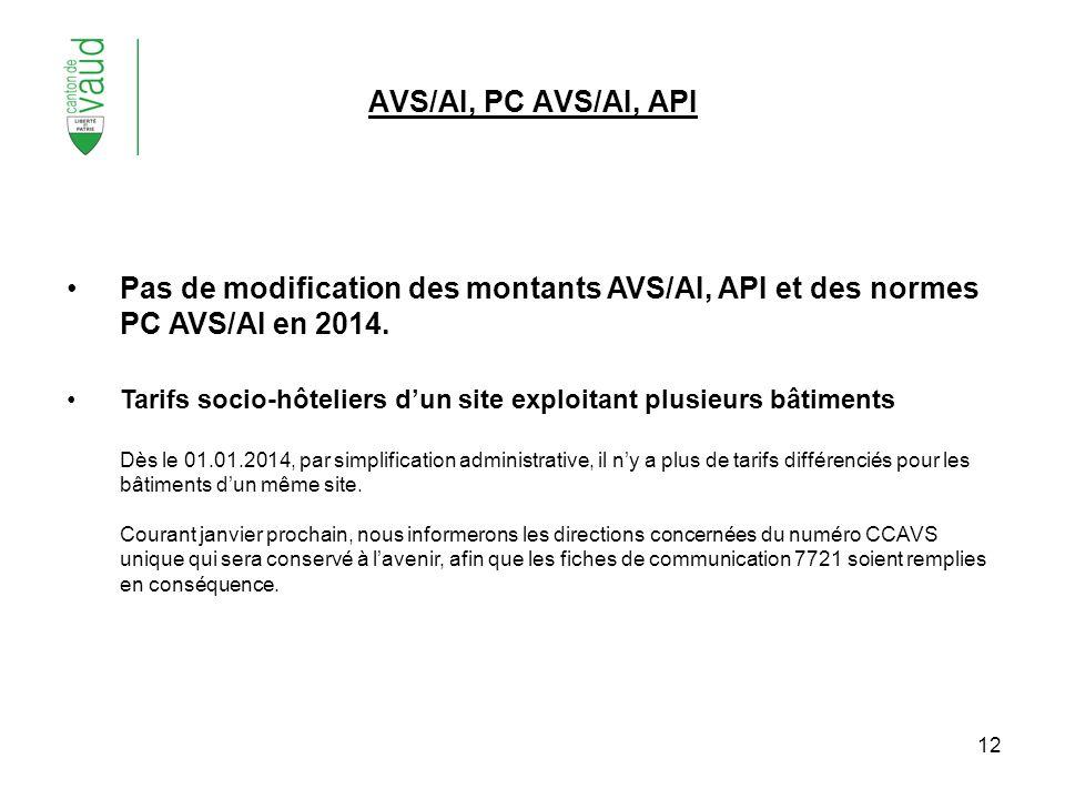AVS/AI, PC AVS/AI, API Pas de modification des montants AVS/AI, API et des normes PC AVS/AI en 2014.