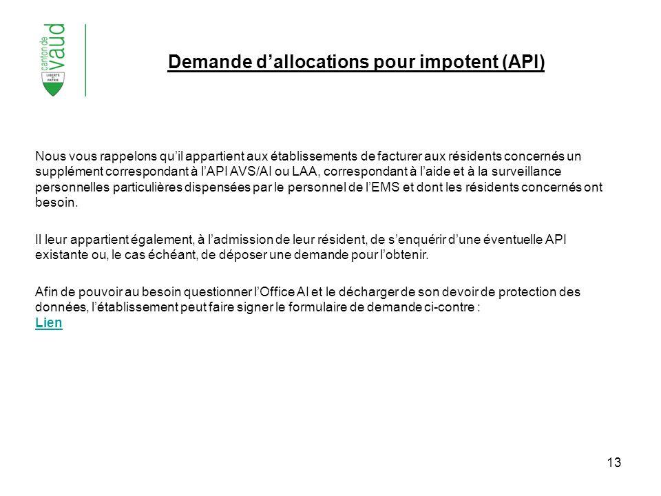 Demande d'allocations pour impotent (API)