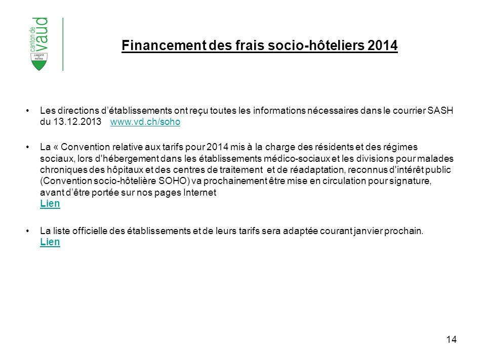 Financement des frais socio-hôteliers 2014