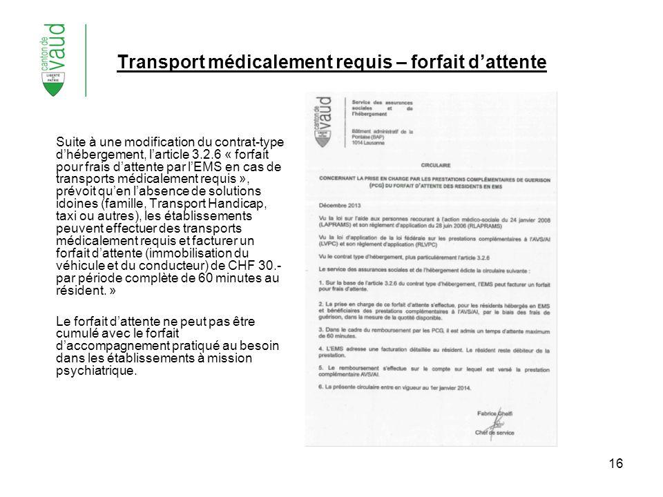 Transport médicalement requis – forfait d'attente