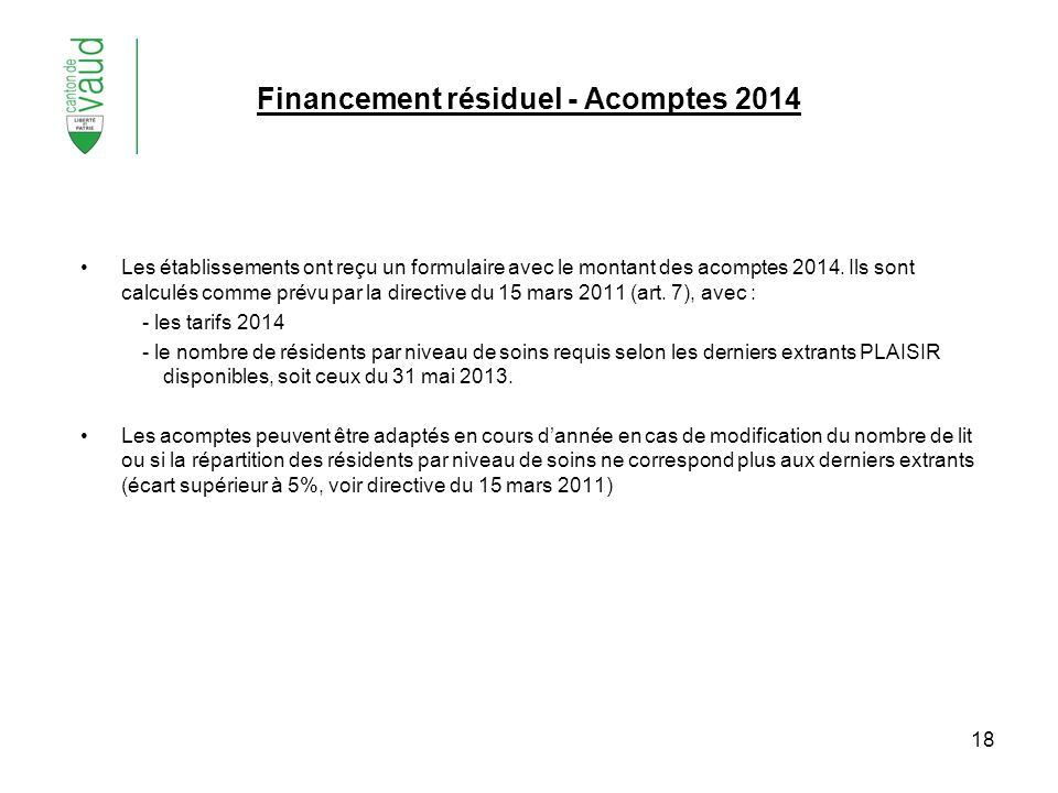 Financement résiduel - Acomptes 2014