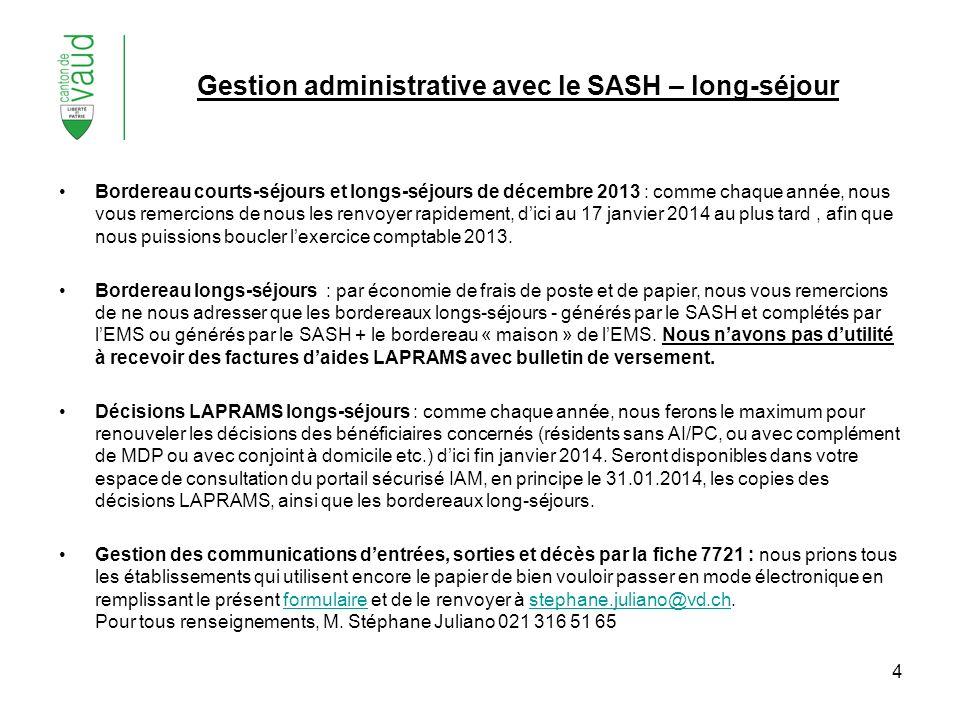 Gestion administrative avec le SASH – long-séjour