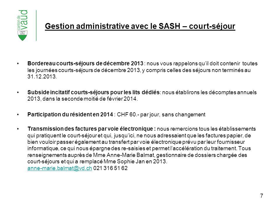 Gestion administrative avec le SASH – court-séjour