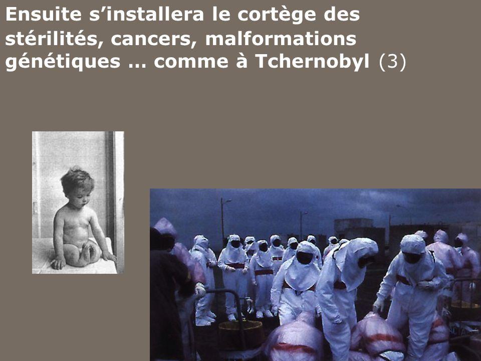 Ensuite s'installera le cortège des stérilités, cancers, malformations génétiques … comme à Tchernobyl (3)