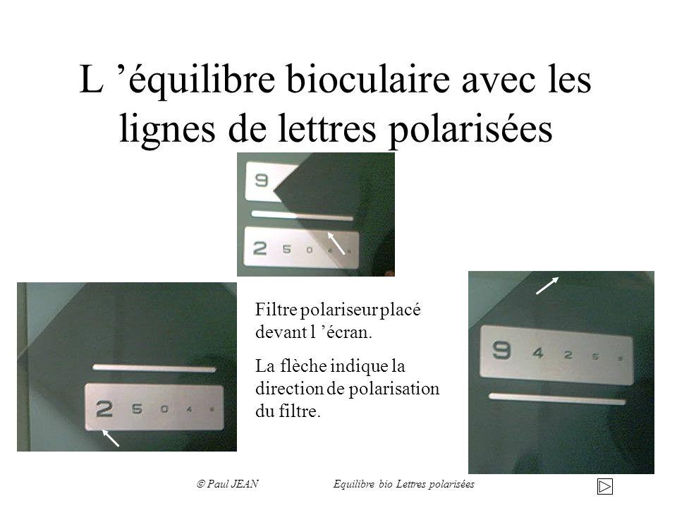 L 'équilibre bioculaire avec les lignes de lettres polarisées