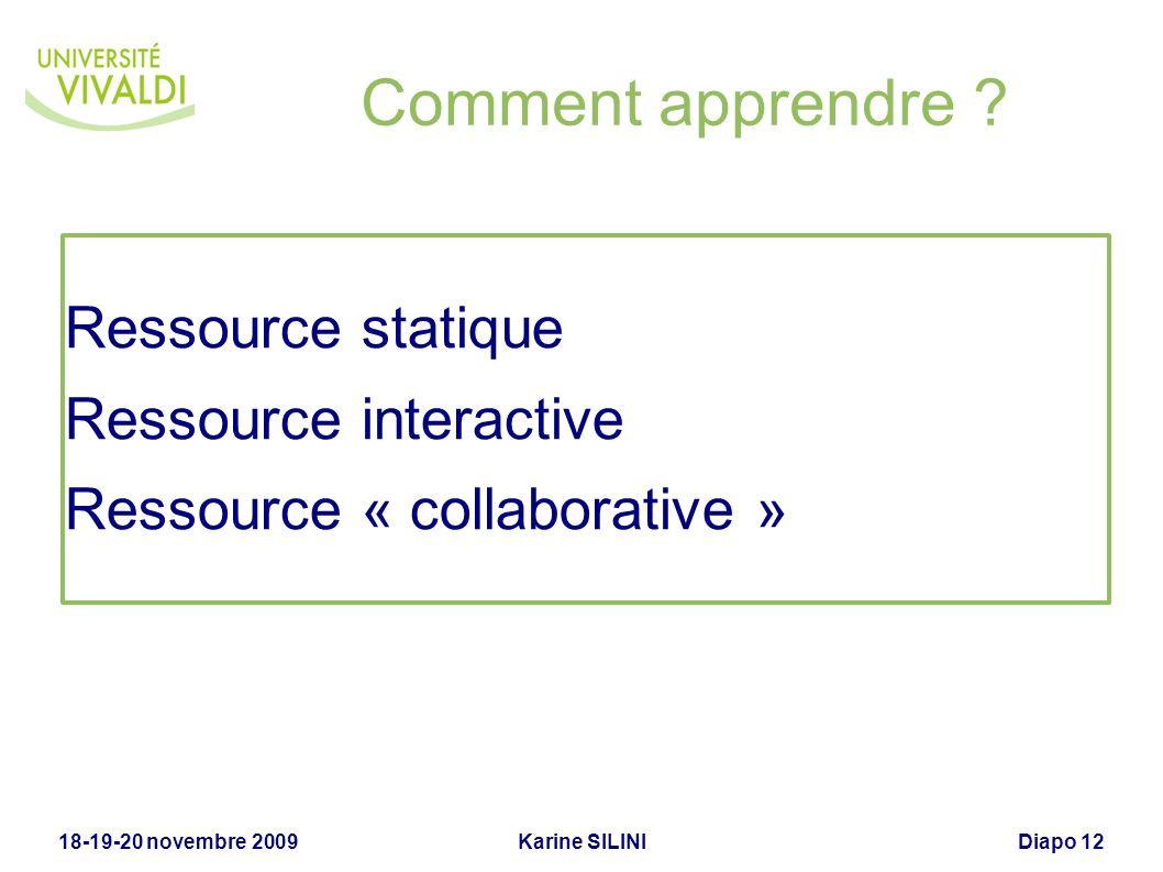Comment apprendre Ressource statique Ressource interactive