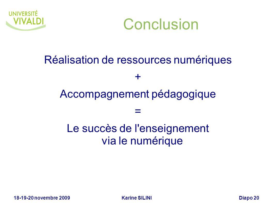 Conclusion Réalisation de ressources numériques +