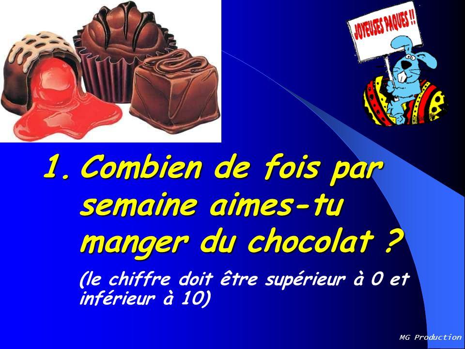 1. Combien de fois par semaine aimes-tu manger du chocolat