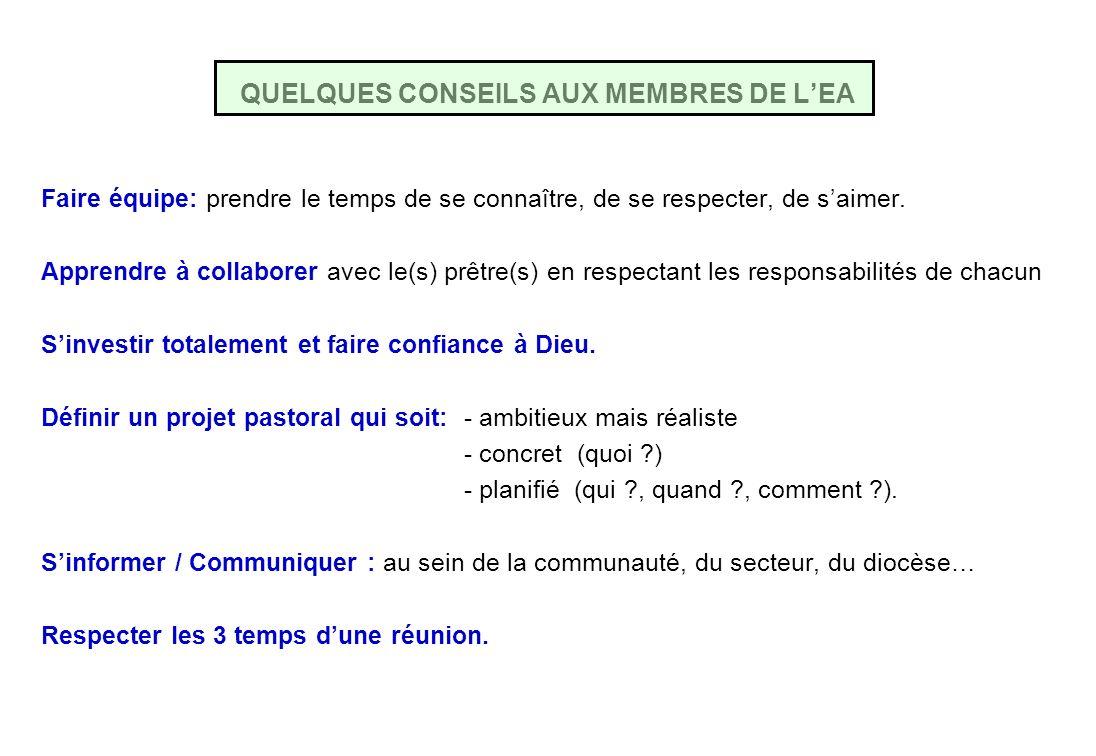 QUELQUES CONSEILS AUX MEMBRES DE L'EA