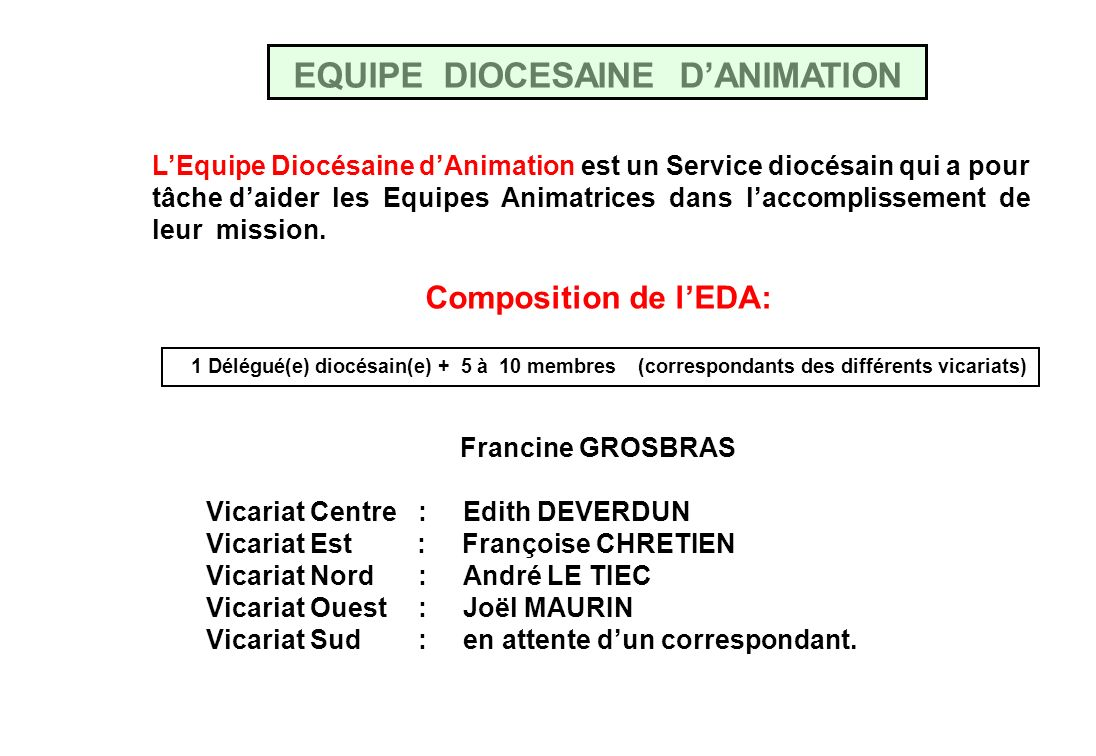 EQUIPE DIOCESAINE D'ANIMATION
