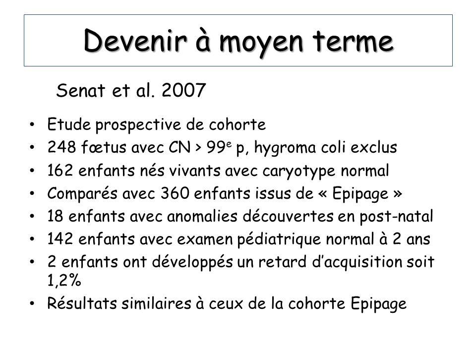 Devenir à moyen terme Senat et al. 2007 Etude prospective de cohorte