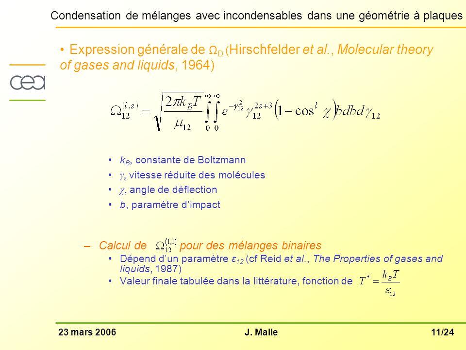 Expression générale de ΩD (Hirschfelder et al