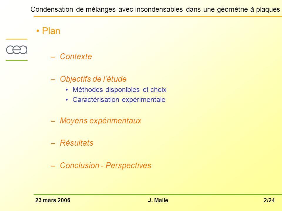 Plan Contexte Objectifs de l'étude Moyens expérimentaux Résultats