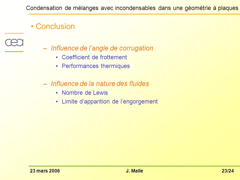 Conclusion Influence de l'angle de corrugation