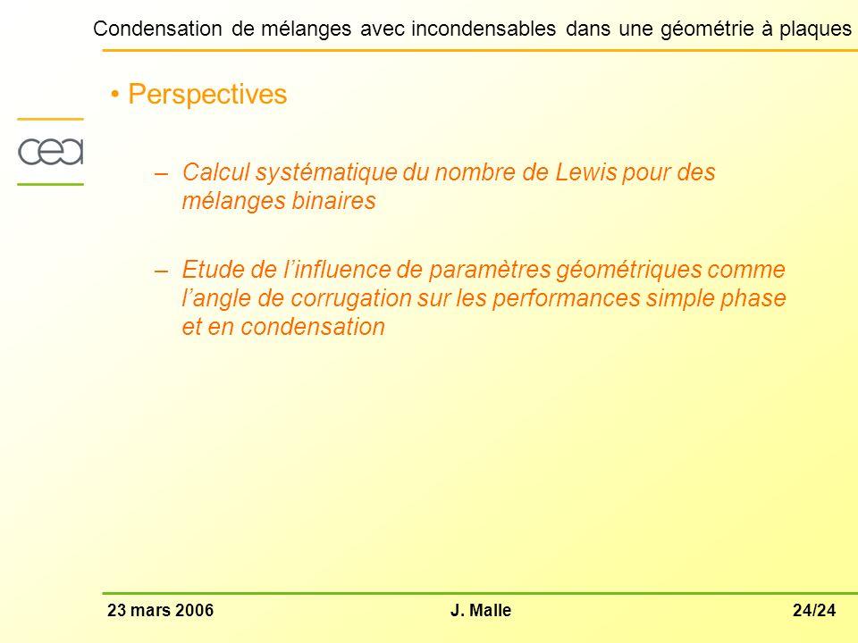Perspectives Calcul systématique du nombre de Lewis pour des mélanges binaires.