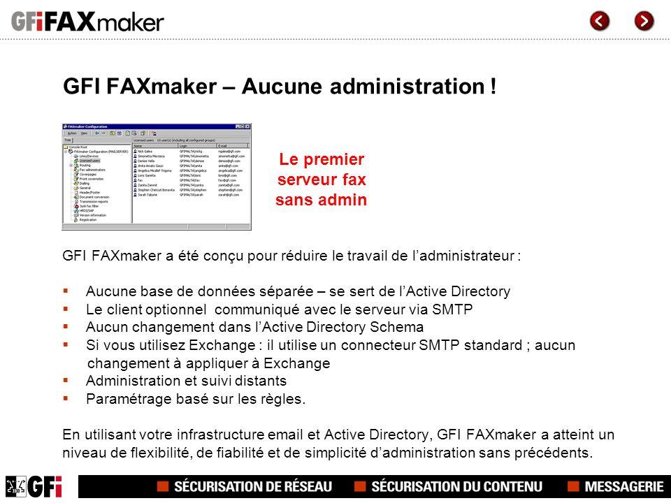GFI FAXmaker – Aucune administration !