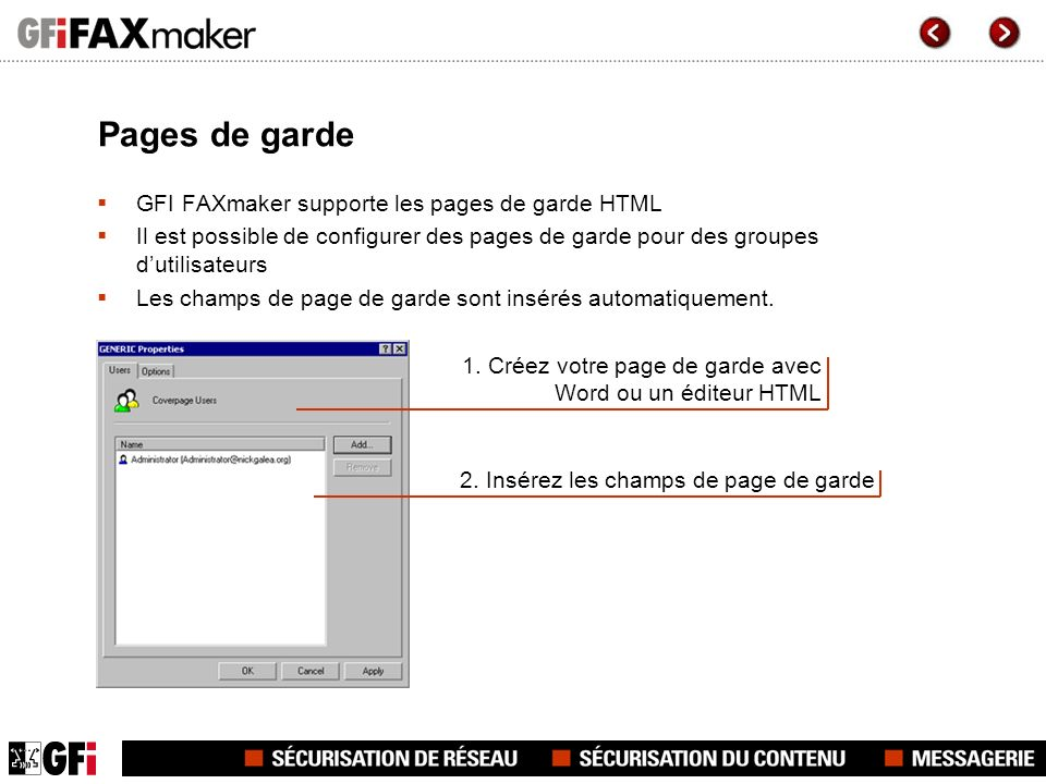 Pages de garde GFI FAXmaker supporte les pages de garde HTML