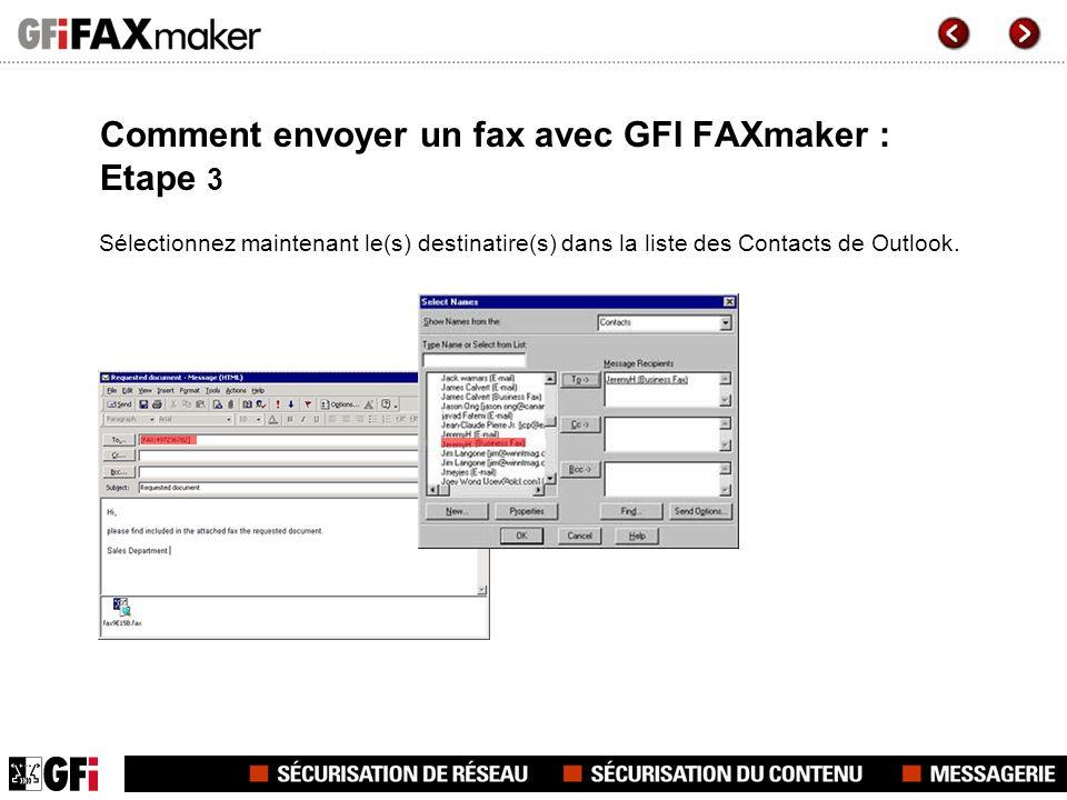 Comment envoyer un fax avec GFI FAXmaker : Etape 3