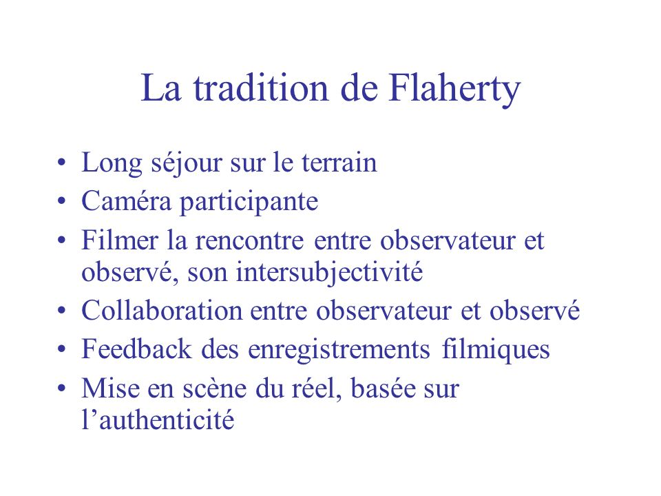 La tradition de Flaherty