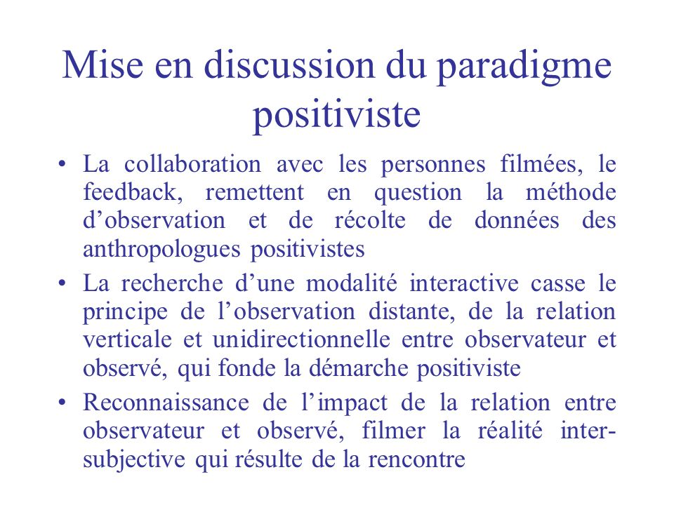 Mise en discussion du paradigme positiviste