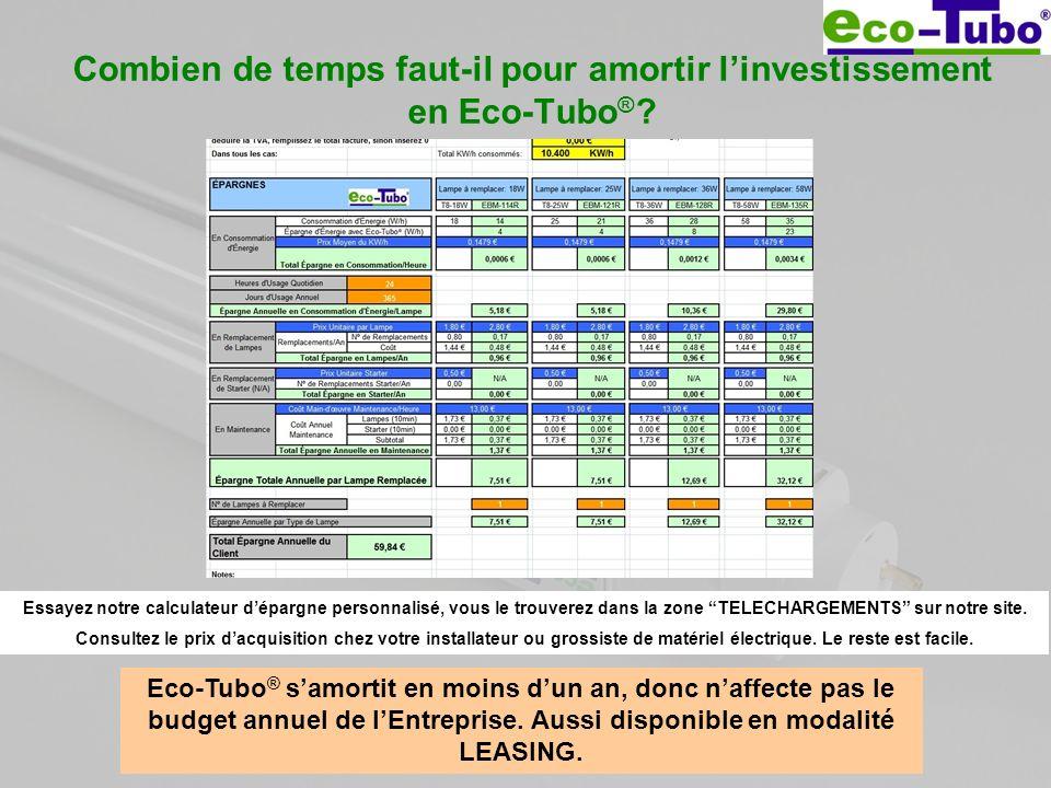 Combien de temps faut-il pour amortir l'investissement en Eco-Tubo®