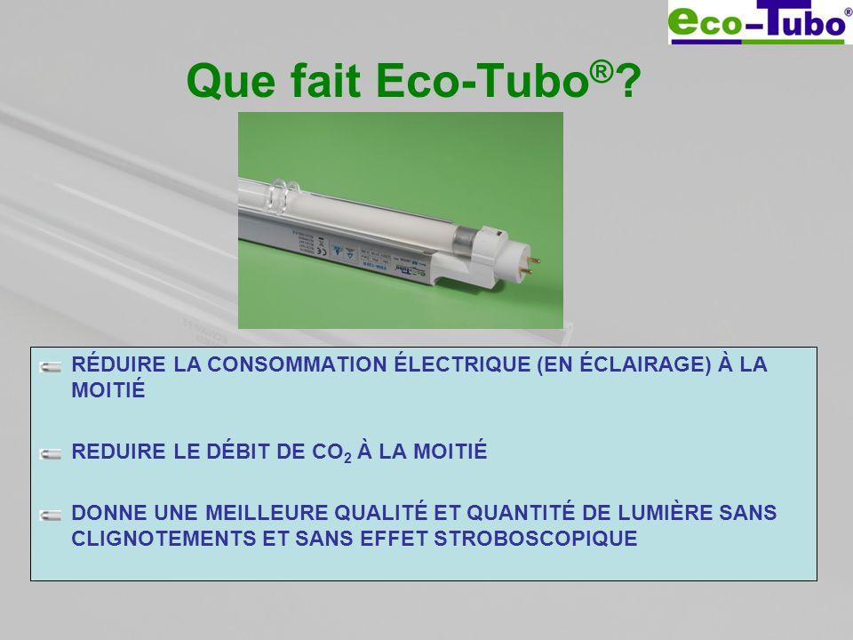 Que fait Eco-Tubo® RÉDUIRE LA CONSOMMATION ÉLECTRIQUE (EN ÉCLAIRAGE) À LA MOITIÉ. REDUIRE LE DÉBIT DE CO2 À LA MOITIÉ.