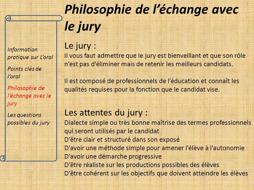 Philosophie de l'échange avec le jury