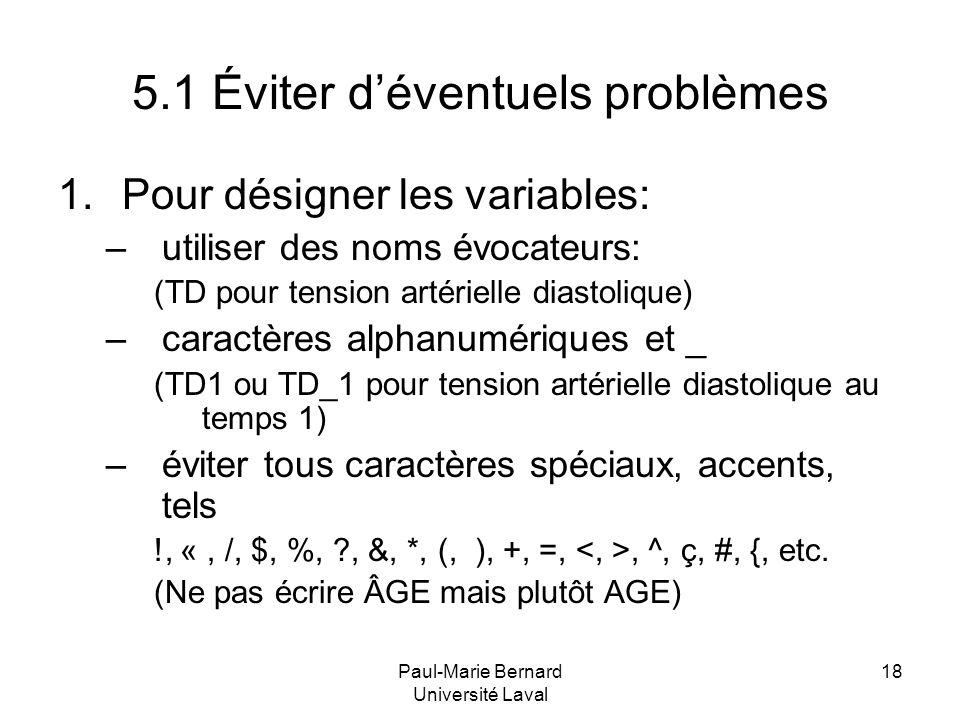 5.1 Éviter d'éventuels problèmes