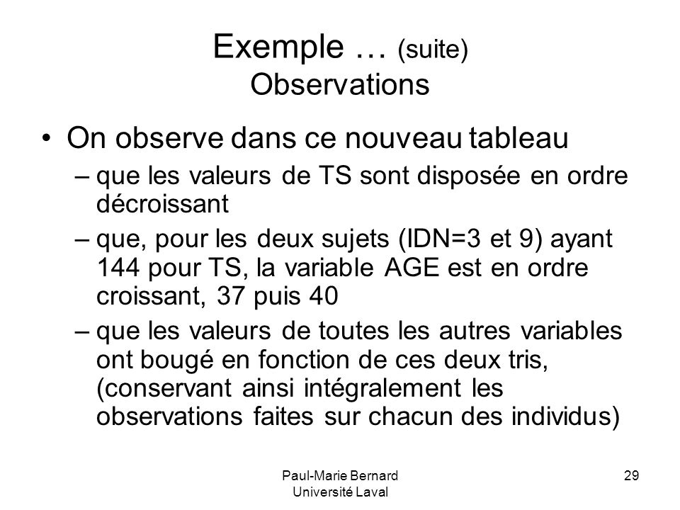 Exemple … (suite) Observations