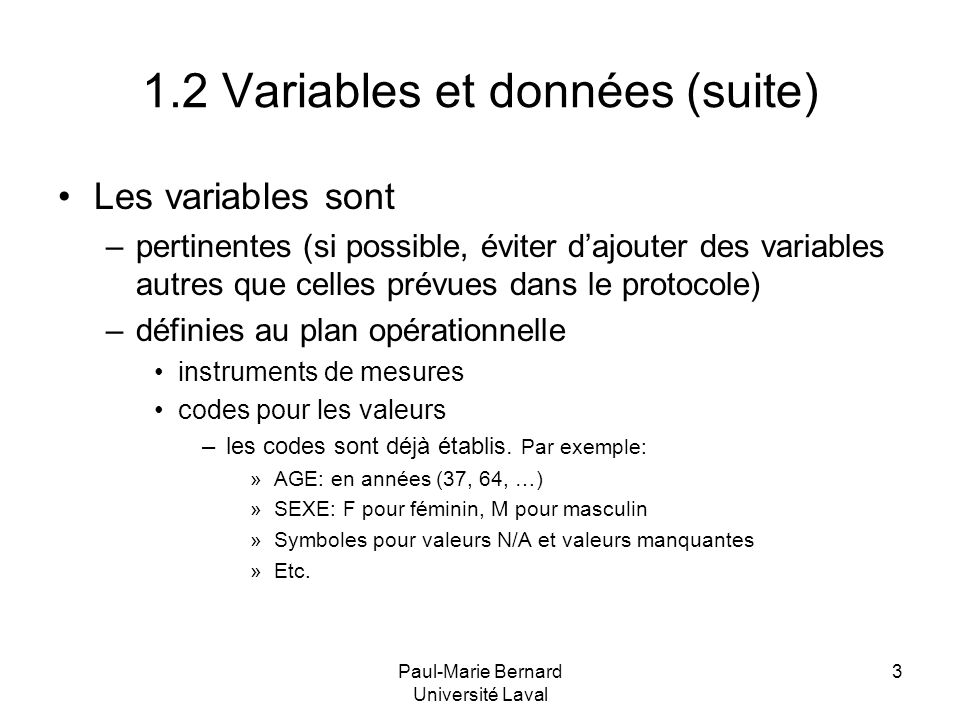 1.2 Variables et données (suite)