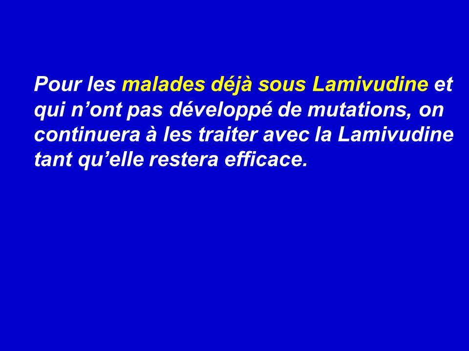 Pour les malades déjà sous Lamivudine et qui n'ont pas développé de mutations, on continuera à les traiter avec la Lamivudine tant qu'elle restera efficace.