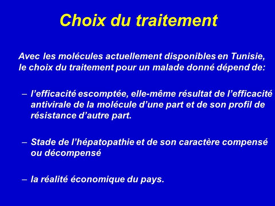 Choix du traitement Avec les molécules actuellement disponibles en Tunisie, le choix du traitement pour un malade donné dépend de: