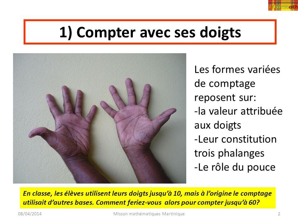 1) Compter avec ses doigts