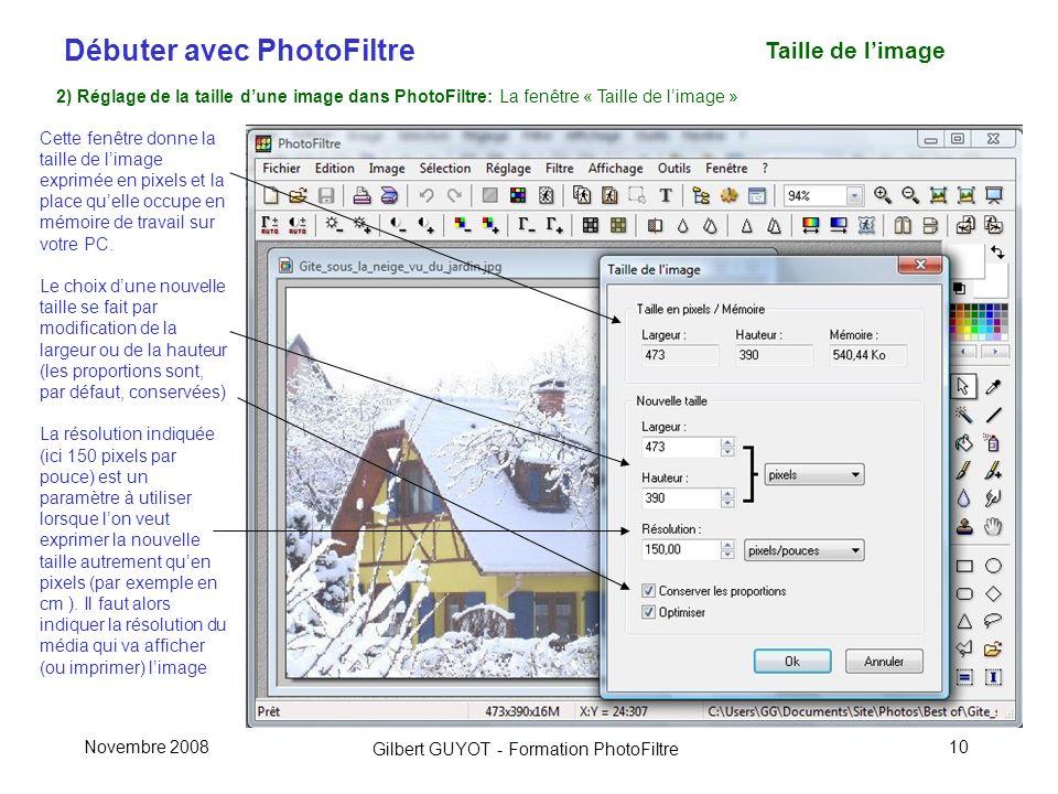 Taille de l'image 2) Réglage de la taille d'une image dans PhotoFiltre: La fenêtre « Taille de l'image »