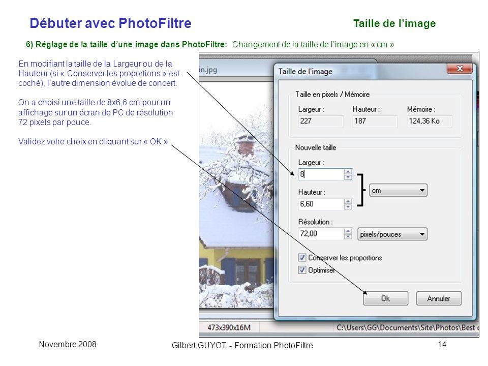 Taille de l'image 6) Réglage de la taille d'une image dans PhotoFiltre: Changement de la taille de l'image en « cm »