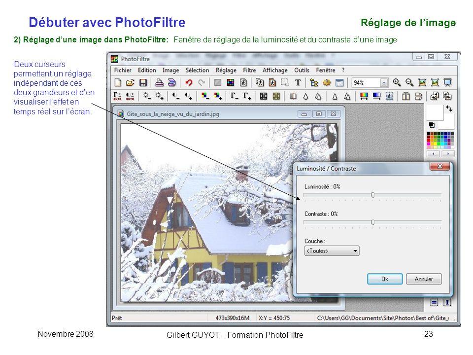 Réglage de l'image 2) Réglage d'une image dans PhotoFiltre: Fenêtre de réglage de la luminosité et du contraste d'une image.