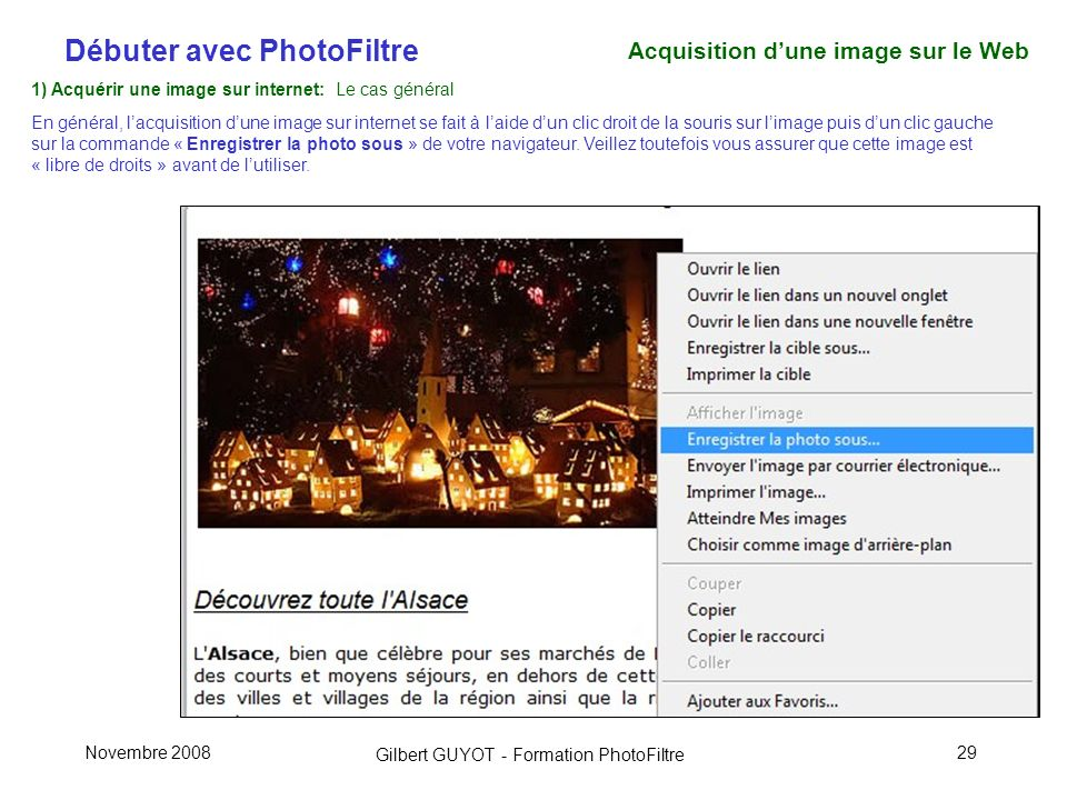Acquisition d'une image sur le Web