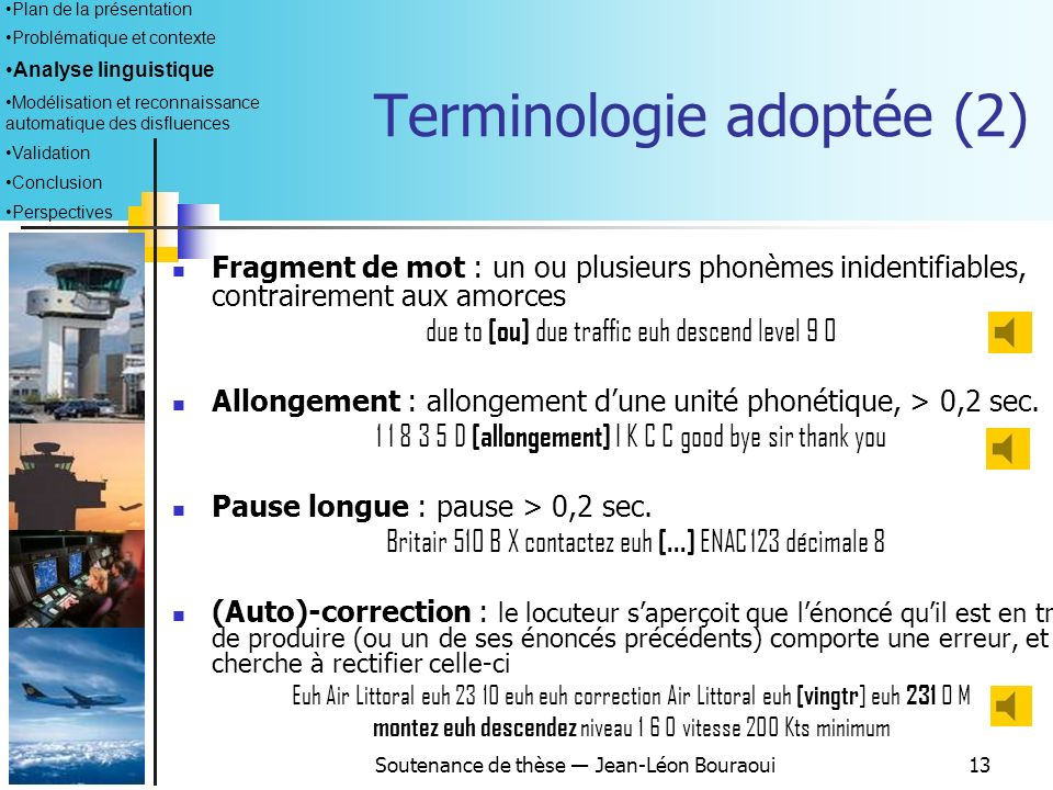 Terminologie adoptée (2)