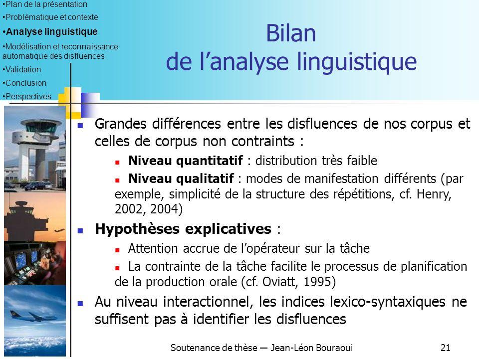 Bilan de l'analyse linguistique
