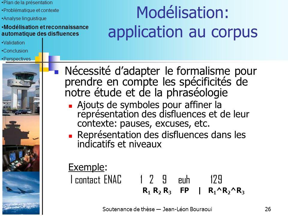 Modélisation: application au corpus